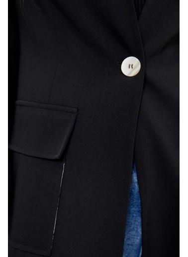 Setre Siyah Kolları Yırtmaçlı Ceket Siyah